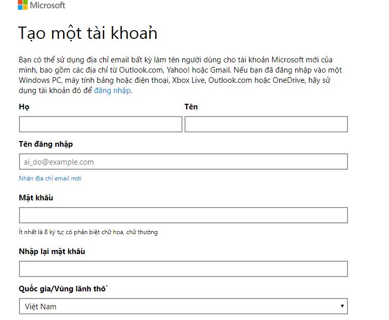 Hướng tạo Account Microsoft