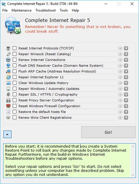 Complete Internet Repair 5.0 - Sửa lỗi PC mất kết nối mạng