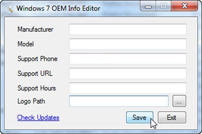 Tools OEM Info Editor cho  Windows 7