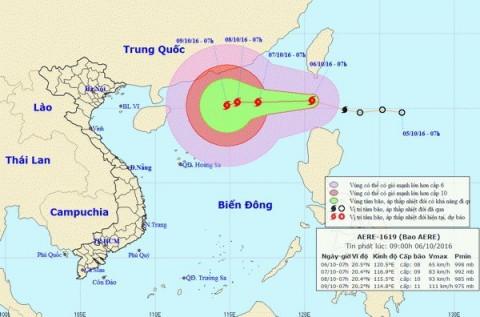 Cộng điện yêu cầu chủ động đối phó với diễn biến bão Aere