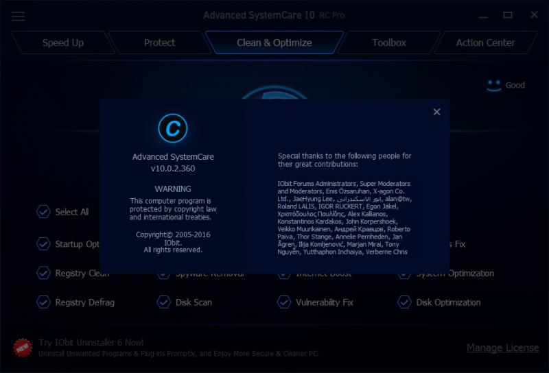 Cách cài đặt và Add Key Advanced SystemCare 10 RC Pro