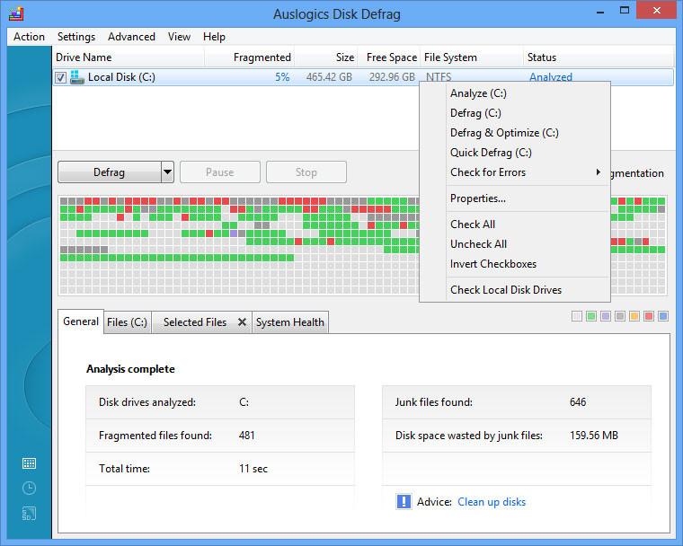 Auslogics Disk Defrag 7.1.3.0 Free - Chống phân mảnh cho ổ cứng HDD