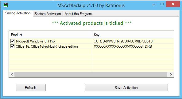 MSActBackUp v1.1.0 - Phần mềm backup bản quyền Windows và Office