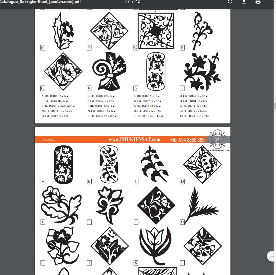 Catalogue hoa văn sắt nghệ thuật - 42 trang PDF
