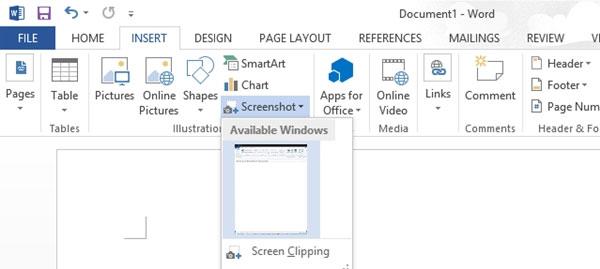 Cách dùng công cụ Screenshot Tool trong Word 2013