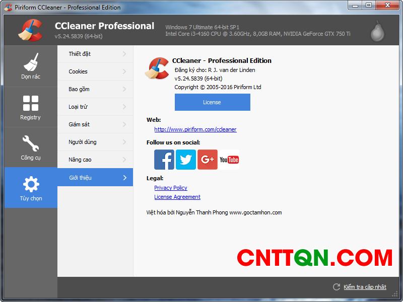 Phần mềm CCleaner Professional 5.24 full crack