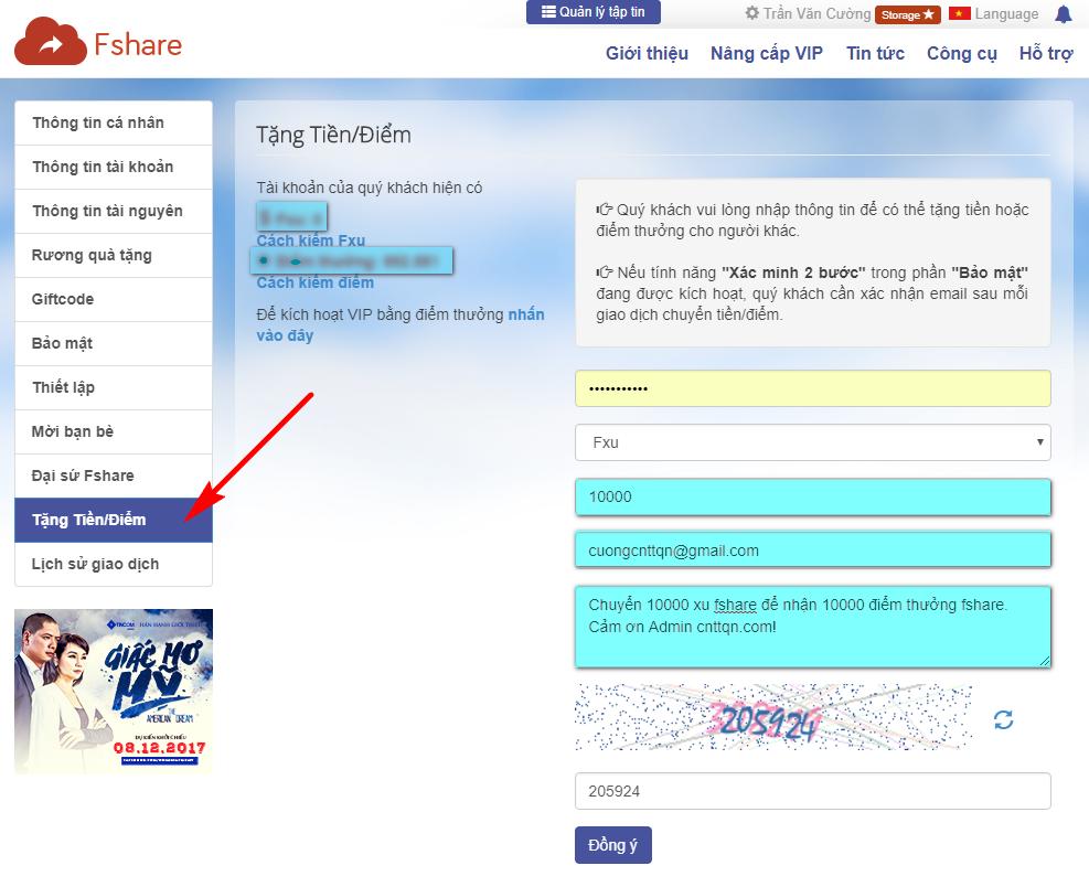 Cách đổi 10000 xu lấy 10000 điểm thưởng Fshare