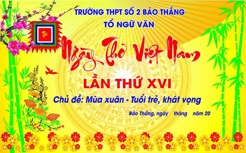 Backdrop Ngày Thơ Việt Nam - Chủ đề Tuổi trẻ - Khát vọng