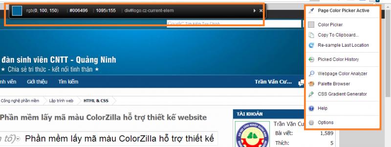 Phần mềm lấy mã màu ColorZilla hỗ trợ thiết kế website