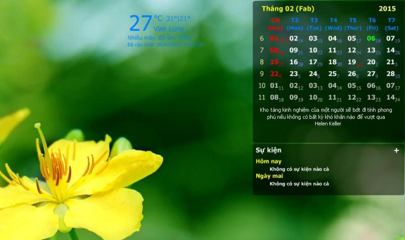 DesktopCalendar - Phần mềm xem lịch trên màn hình máy tính