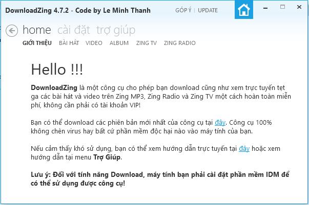 DownloadZing 4.7.2 - Phần mềm tải nhạc 320kbps trên Zing Mp3
