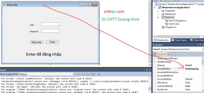 tạo form đăng nhập với dotnet c#