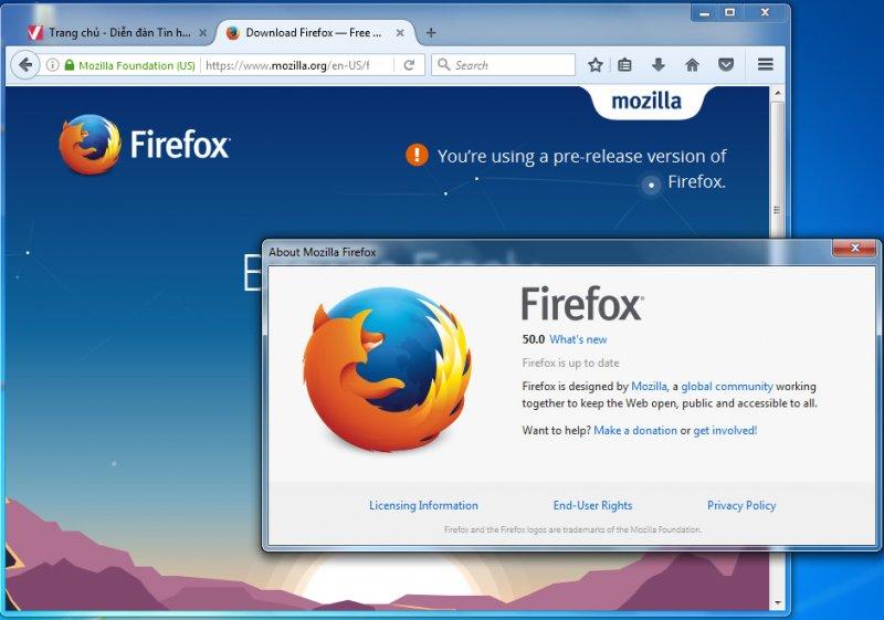 Download Firefox 50.0 final - trình duyệt web tốc độ cao