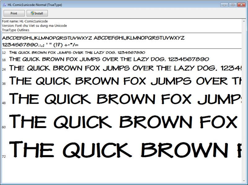 Font Chữ Unicode cho Truyện tranh – Tác giả Hùng Lân