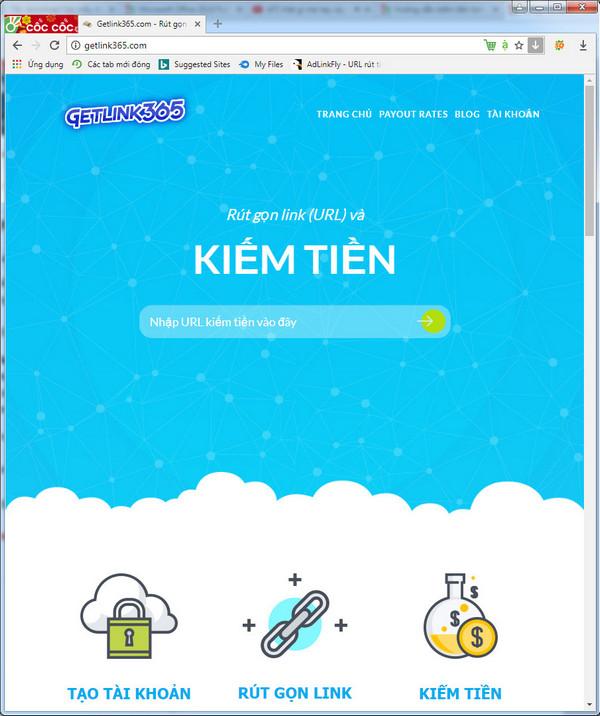 Kiếm tiền getlink365 với 3$/1000view Minpay 5$ VN 2018
