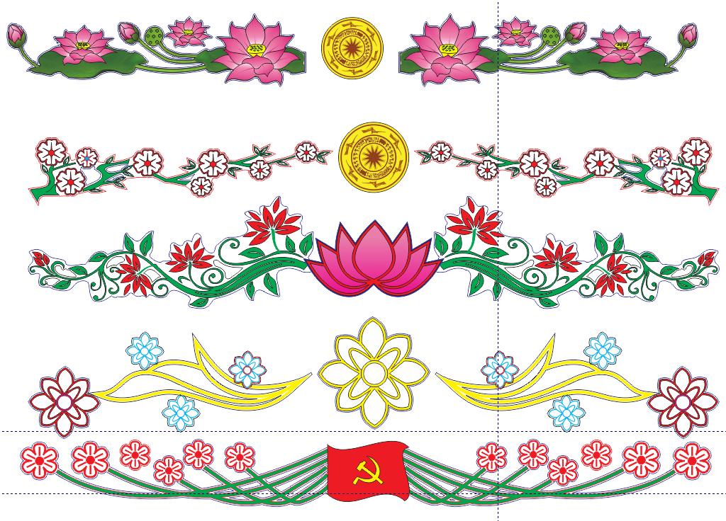 [Vector] Hoa trang trí tết treo cột và ngang đường file CorelDraw