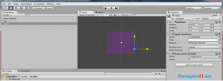 Hướng dẫn làm game trên Unity 3D Phần 2