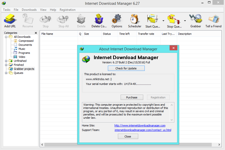 Internet Download Manager (IDM) 6.27 build 2 Full Crack