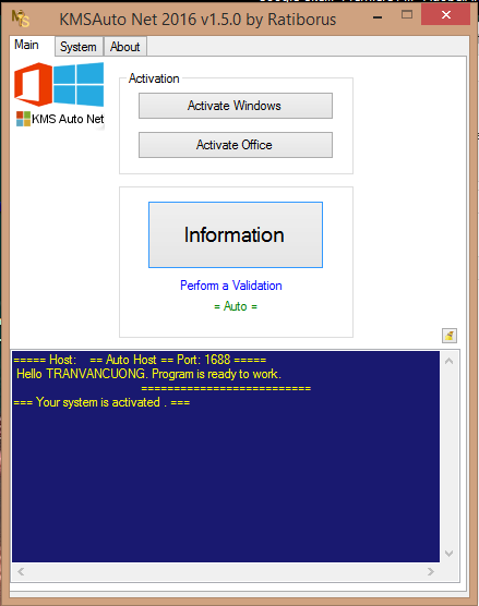 KMSAuto.Net.2016.v1.5.0 - Active Windows + Office mới nhất