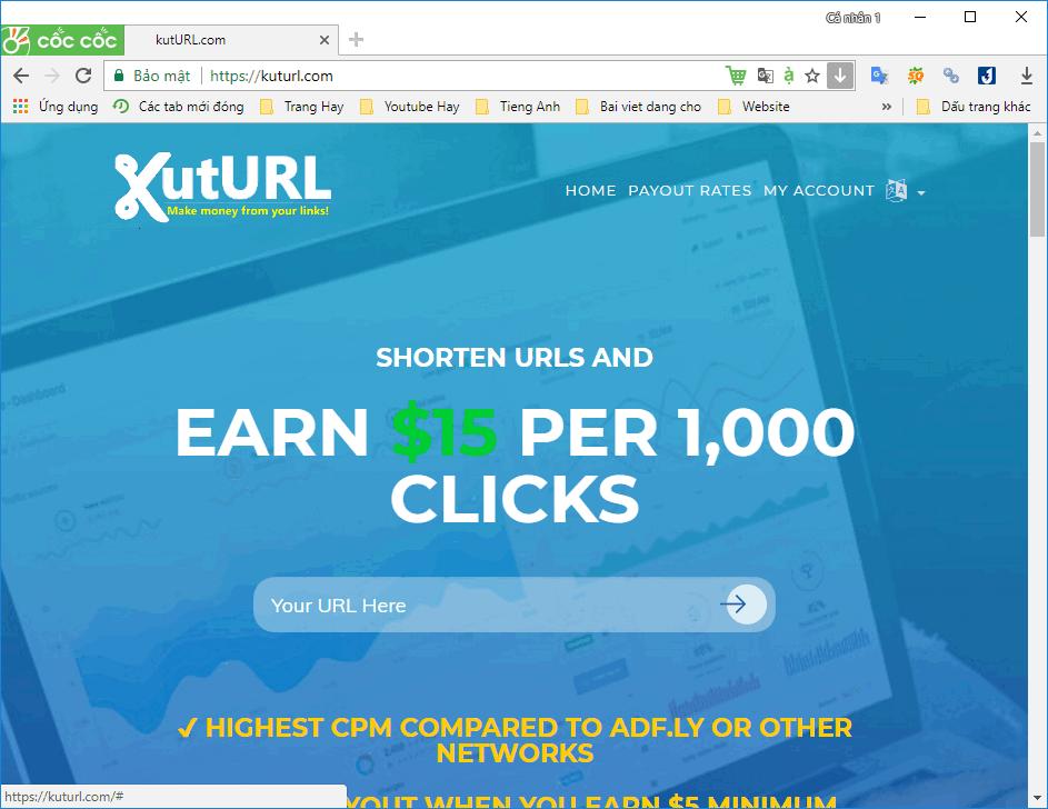 Hướng dẫn kiếm tiền link rút kutURL.com với 3.2$/1000 view