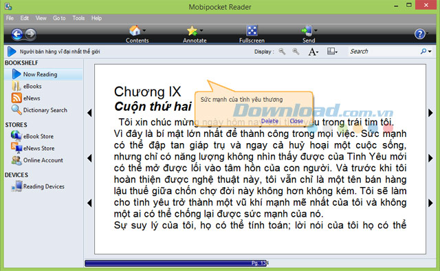 Mobipocket Reader Desktop 6.2 - Đọc eBook trên máy tính