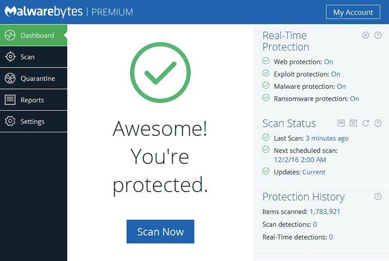 Malwarebytes 3.1.2.1733 - phần mềm chống virus, diệt malware