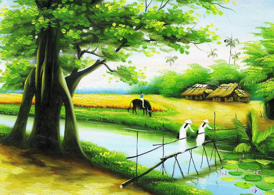 [File ảnh] Tranh sơn dầu đồng quê Việt Nam Bức 2