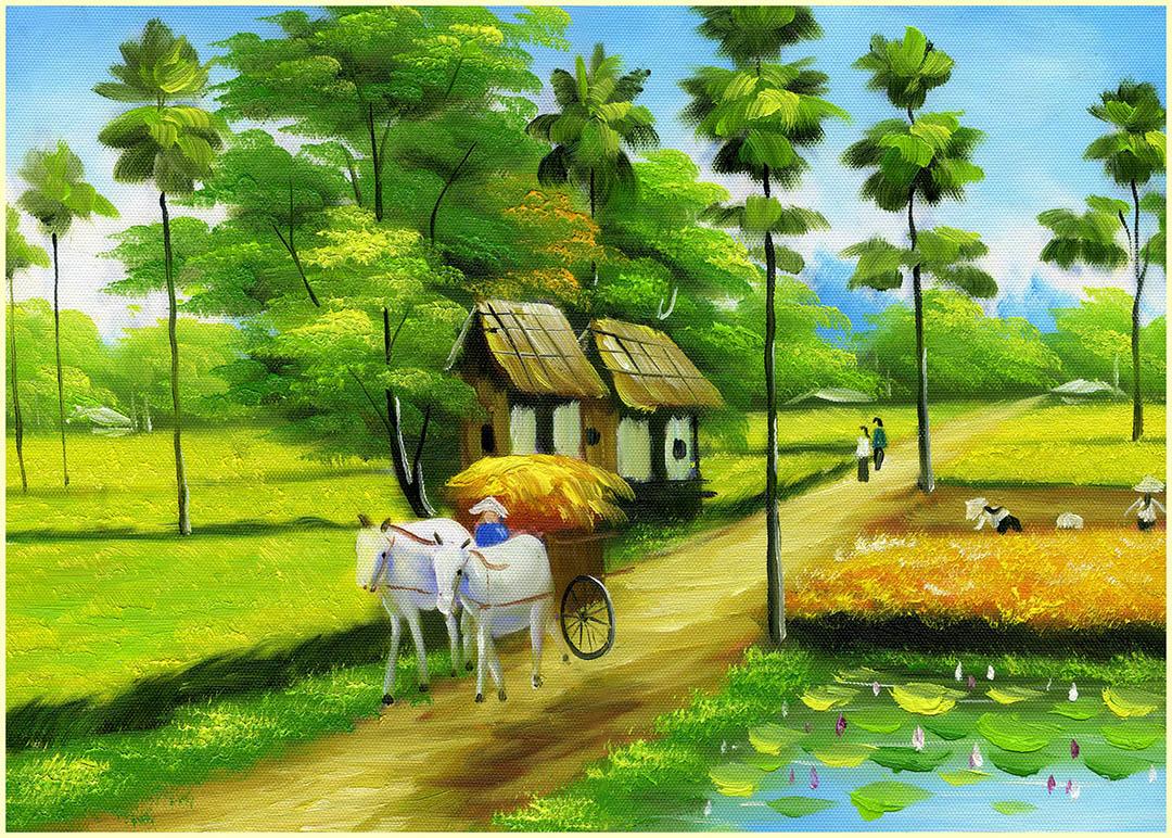 [File ảnh] Tranh sơn dầu đồng quê Việt Nam Bức 5