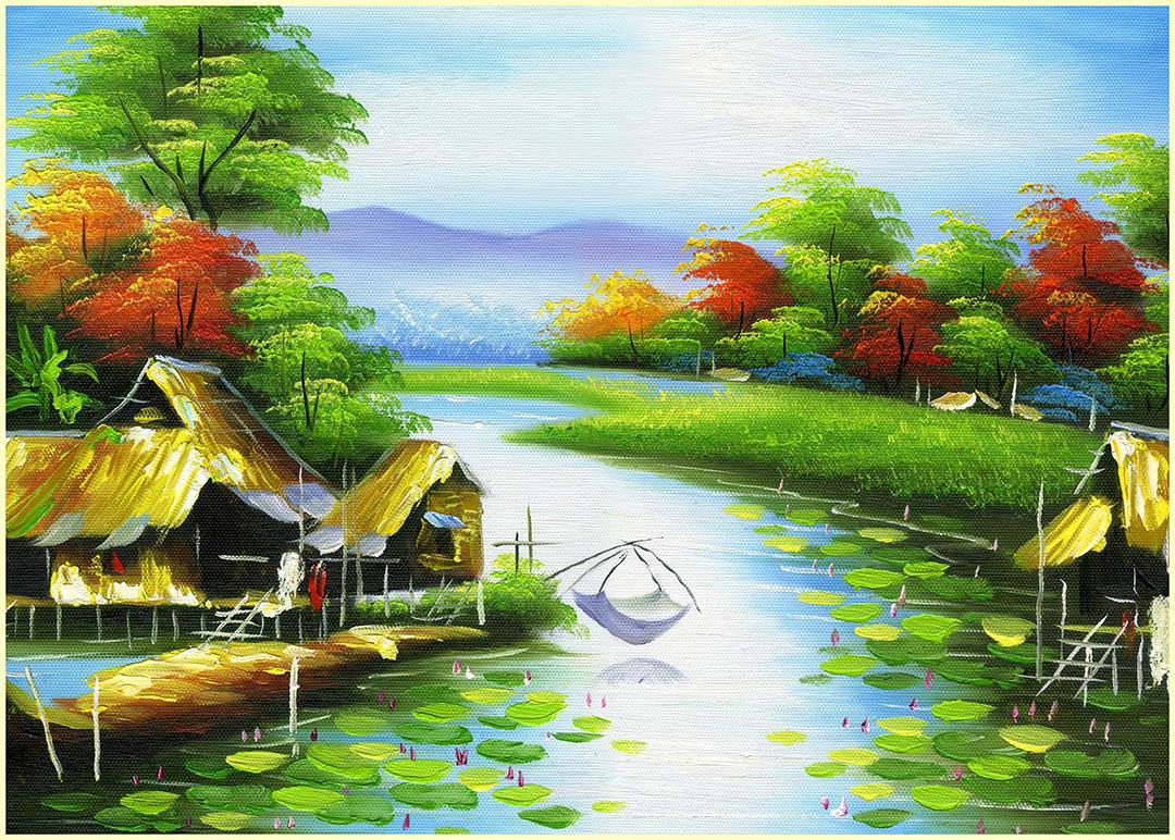 [File ảnh] Tranh sơn dầu đồng quê Việt Nam Bức 9
