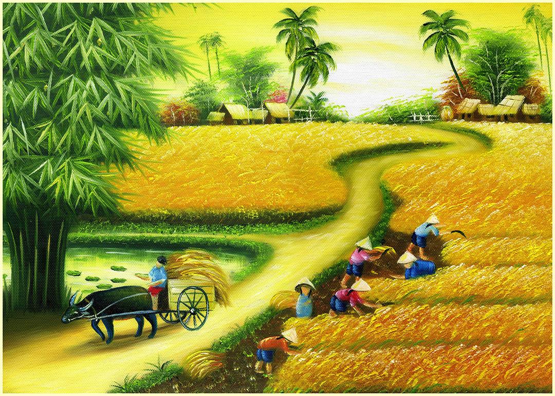[File ảnh] Tranh sơn dầu đồng quê Việt Nam Bức 10