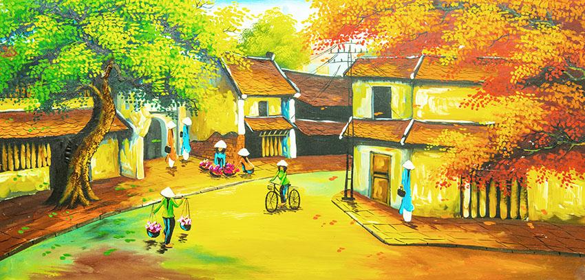 [File ảnh] Tranh sơn dầu đồng quê Việt Nam Bức 13