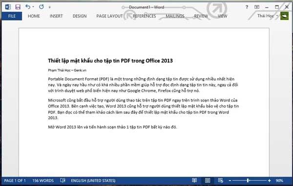 Thiết lập mật khẩu cho file PDF trong Office 2013