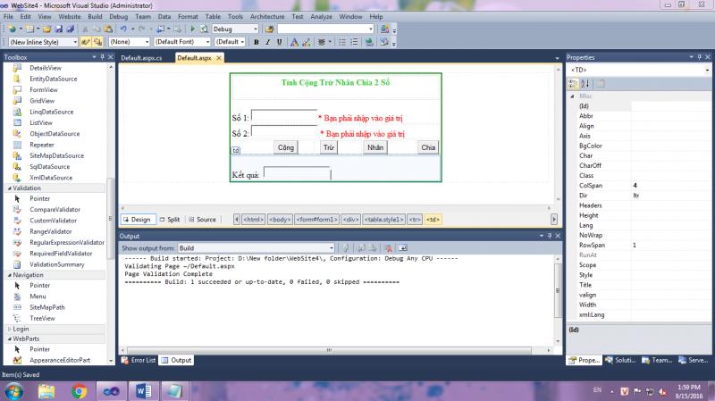 [ASP.NET C#] Xây dựng ứng dụng Cộng Trừ Nhân Chia