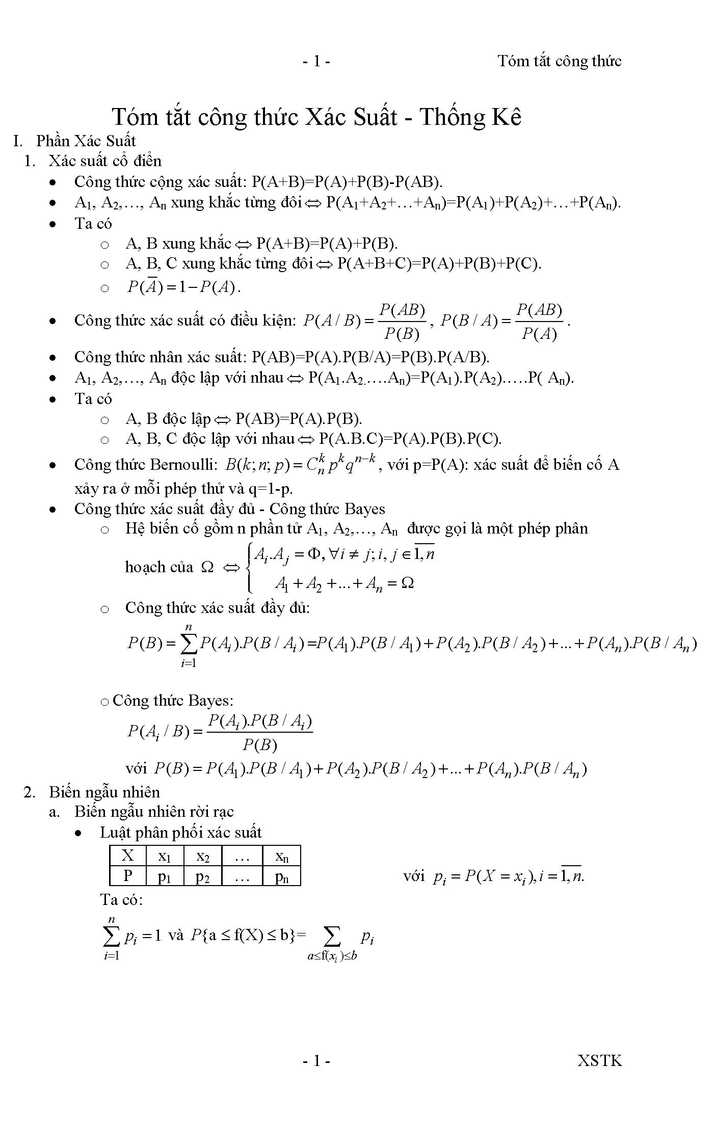 [PDF] Tóm tắt công thức Xác Suất Thống Kê