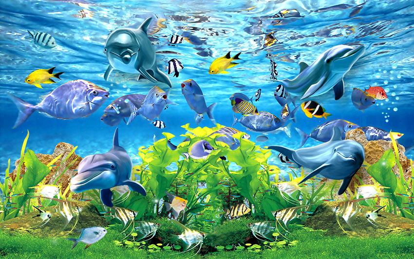 [Download] Tranh tường 3D đại dương cá heo đẹp