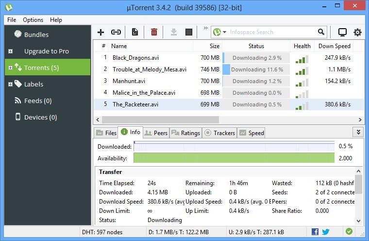 uTorrent 3.4.5 build 41712 - phần mềm hỗ trợ tải file torrent