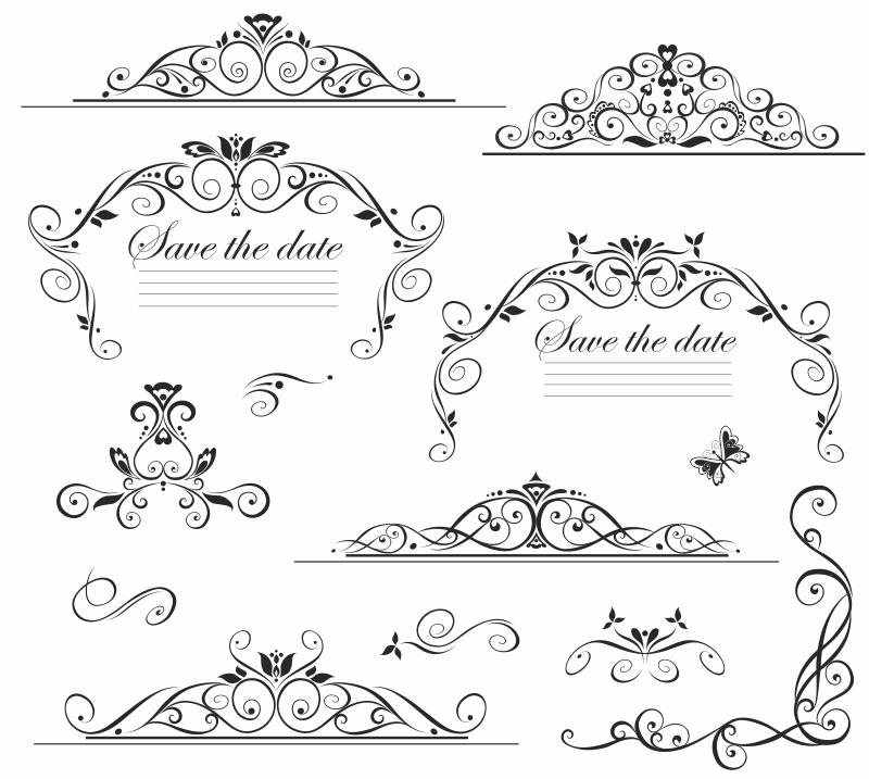[Vector] Khung và viền trang trí thiệp cưới Wedding file ESP