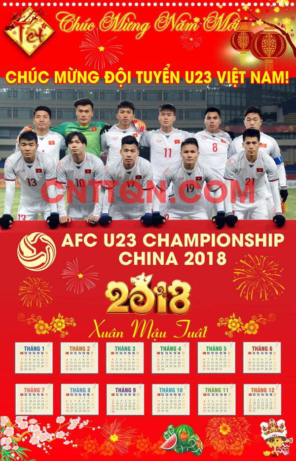 [Vector] Lịch treo tường 1 tờ Chúc mừng U23 Việt Nam