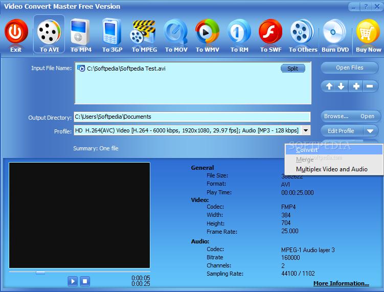 Phần mềm đổi đuôi video sang 3gp, mp3, mp4, avi chất lượng cao