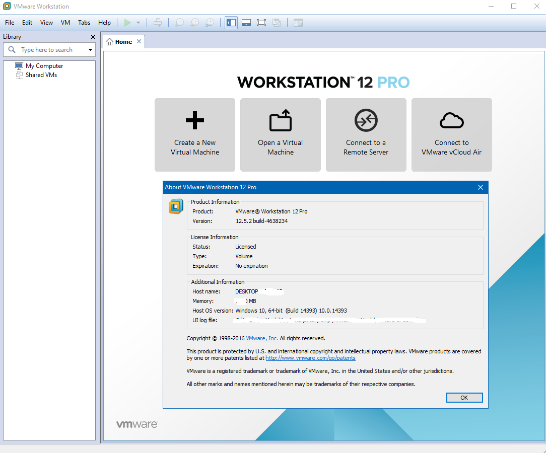 VMware Workstation Pro 12.5.2.4638234 (64-bit) Full Key