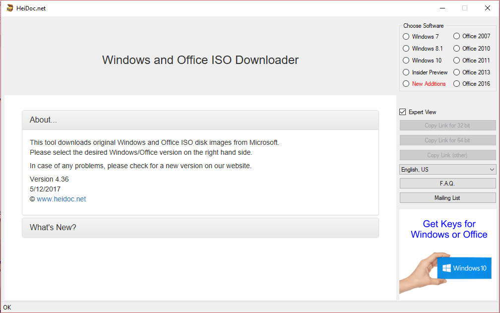 Microsoft Windows and Office ISO Download Tool 4.36 - Tải Windows 7/8/10 ISO