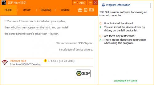 3DP Net, Cập nhật driver card mạng