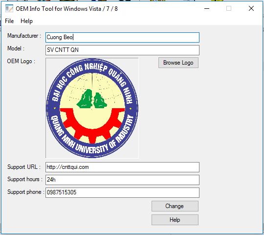 OEM Info Tool, đổi thông tin, đổi logo, tren windows